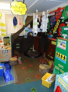 Bear Hunt Role Play Ideas Camping Dramatic Play, Dramatic Play Area, Dramatic Play Centers, Creative Activities, Educational Activities, Reception Class, Role Play Areas, Eyfs Classroom, Nursery Activities