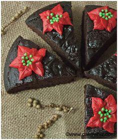 Fat free chocolate cake with Poinsettias - Cakewhiz