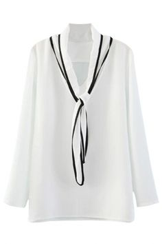 6cf24eda962bef Demure Bow Neck White Blouse More discount in OASAP for Valentine s Day!  Tie Blouse