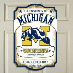 Amazon.com: NCAA Michigan Wolverines NCAA Vault Wood Sign: Home & Kitchen