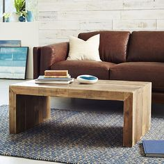 Emmerson™ Reclaimed Wood Coffee Table | west elm $499, wood table made from shipping pallets, lots of variation/character/patina/nail holes. Love the design, simple but substantial