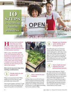 10 Steps to Starting a Small Business By: Jenn Dana--Molly Green - Spring 2016 - Page 94 http://www.mollygreenonline.com/mollygreen/spring_2016?pm=1&u1=texterity&linkImageSrc=/mollygreen/spring_2016/data/imgpages/tn/0070_uctarm.gif/&pg=95#pg95