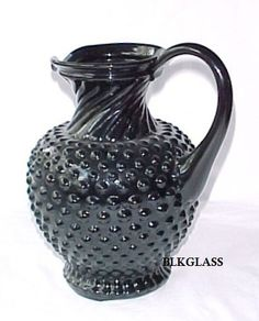 Tiara Glass Exclusives Hobnail Pitcher Ebony Jet Black Glass Pitcher Maker: Tiara Glass / Indiana Glass Company Pattern: Hobnail Color: Ebony Jet Black Glass Size: About inches high. Black Amethyst, Antique Glassware, Glass Pitchers, Indiana Glass, Glass Company, Coffee Set, Carnival Glass, Black Glass, Milk Glass