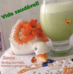Suco detox: limão, hortelã, chuchu e gengibre. Refrescante, muito bom!