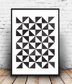 Geometric art print Scandinavian print Geometric by Wallzilla Geometric Poster, Geometric Wall Art, Geometric Designs, Geometric Shapes, Art Pariétal, Op Art, Home Bild, Art Minimaliste, Schrift Design