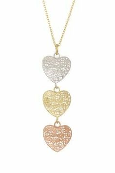 14K Gold Tri-Tone Triple Heart Pendant Necklace