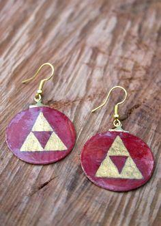 My nweest earrings with the Triforce of Power: Triforce - Zelda earrings from paper, glossy varnish & watercolour, water resistant, golden http://etsy.me/2i0jQOQ #schmuck #ohrringe #earrings #jewelry #Zelda #gold #Triforce #jewellery #LegendofZelda