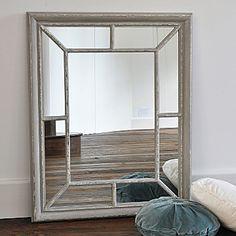 Antique Grey Rectangular Window Mirror