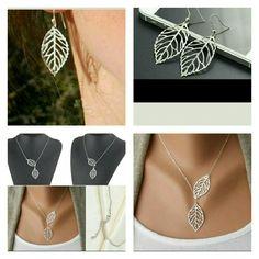 BRAND NEW bohemian leaf set necklace & earrings BRAND NEW Bohemian inspired silver Leaf Necklace and Earrings set! still in package! Adorable!! Jewelry