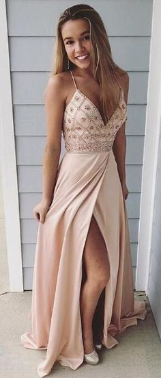 Spaghetti Straps Prom Dresses,long Prom Dress, Beaded Prom Gown,party Dress With Side Slit Beige Prom Dresses, Straps Prom Dresses, Hoco Dresses, Prom Party Dresses, Ball Dresses, Pretty Dresses, Homecoming Dresses, Beautiful Dresses, Dress Party