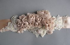(via Wedding bridal sash belt Vintage Nude Terracotta by LeFlowers) Rustic Wedding Flowers, Rustic Wedding Dresses, Trendy Wedding, Wedding Colors, Wedding Belts, Wedding Sash, Fabric Ribbon, Fabric Flowers, Bridal Sash Belt
