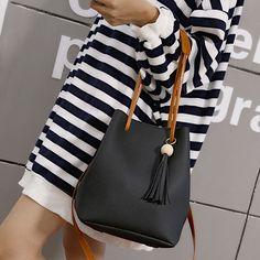 Fashion Women Leather Tassels Handbag Bag Single Shoulder Bucket Bag+Clutch Bags