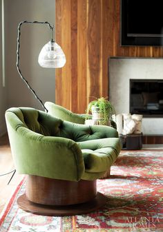 Green Velour Armchairs