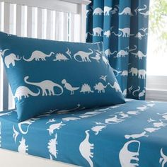 bluezoo Kid's blue dinosaur fitted sheet set- at Debenhams.com