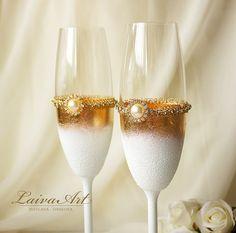 Flautas de oro Art Deco estilo Gatsby boda Champagne por LaivaArt