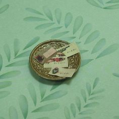 Miniature Dollhouse Antique Gold Bowl with Calling by beadcharmed, $4.00