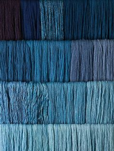 Studio photography of various colours of yarn dyed at the Weaver's shop in Colonial Williamsburg. Shot for book by Max Hamerick on dyeing textiles; Blue dyed with Indigo Photo by Barbara Temple Lombardi Azul Indigo, Bleu Indigo, Indigo Dye, Indigo Colour, Blue Dream, Love Blue, Blue And White, Everything Is Blue, Bleu Turquoise