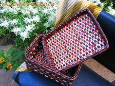 ▶ Weaving a rectangular bottom of a basket from newspapers. - YouTube