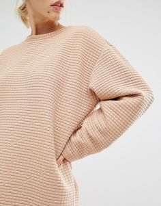 Monki Oversized Ribbed Sweat Dress