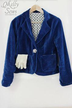 Vintage inspired blue velvet blazer: Women's blazer sewalong with free pattern