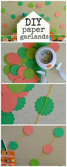 Easy DIY Paper Garlands these are inexpensive and super easy to make.  You can use them to decorate a child's bedroom or playroom or for a birthday party.