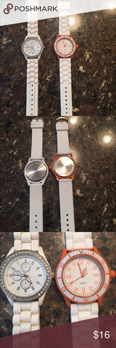 White silicone 2 -ladies watches 1 used a little but good/has all the crystals - 1 NWOT is sporty with tangerine accented color (battery working on the one) crystal one needs a new battery! Comfortable bands to wear!! Accessories Watches