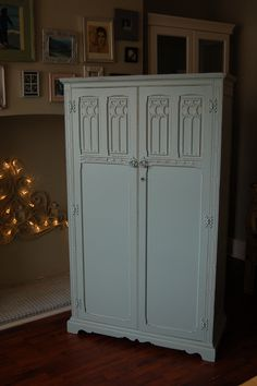 Vintage Wood Brothers wardrobe hand painted and distressed in F, Green Blue & Old White...  www.peelingpaint.co.uk