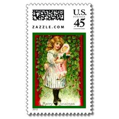 Vintage Christmas Doll Postage Stamps
