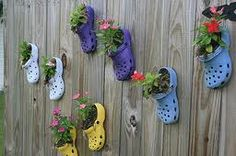 Using Crocs as pots for your plants on the fence!!!  Use a mesh in the toe so your dirt doesn't fall out!