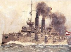 Battleship Habsburg of the Imperial and Royal Austro-Hungarian Navy, 1902.