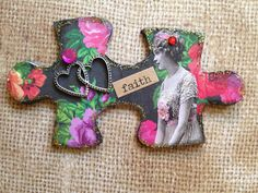 Altered Puzzle Pieces for Sheryl | by Donetta's Beaded Treasures