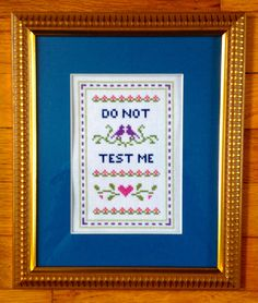 Funny counted cross stitch pattern Do not test me PDF pattern
