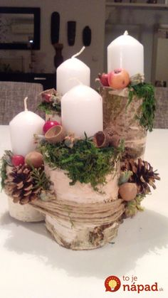 Filling Your Home with Favorite Christmas Scents- Pink Candles Centerpiece Christmas, Christmas Advent Wreath, Christmas Scents, Christmas Themes, Christmas Decorations, Christmas Candles, Advent Wreaths, Reindeer Christmas, Table Decorations