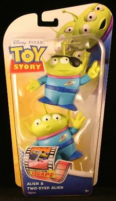 Disney / Pixar Toy Story Operation Escape Posable Action Figure 2Pack Alien TwoEyed Alien by Mattel. $15.74. ALIEN & TWO-EYED ALIEN * OPERATION ESCAPE * Disney / Pixar Toy Story * 3.5 INCH * Action Figure 2 Pack. From Mattel. Ages 3+. Figures measures approximately 3.5 inches tall each.. Originally released in 2011!. When villains send a runaway train speeding toward danger, the Aliens show up to help them escape from the law!