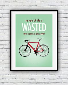 Cycling poster cycling quote print Bike print by Redpostbox