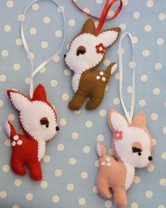 Felt fawn - red - Christmas decor ornament