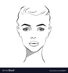 Beautiful woman face hand drawn vector image on VectorStock Female Face Drawing, Girl Face Drawing, Karen Campbell, Face Doodles, Fashion Drawing Tutorial, Face Outline, Fashion Model Sketch, Makeup Face Charts, Fashion Silhouette