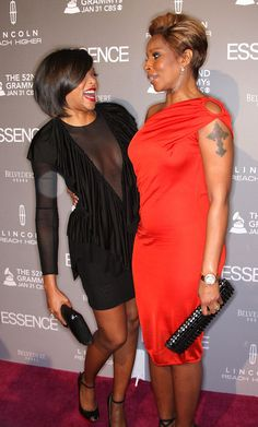 Taraji P. Henson and Mary J. Blige looking fab at the Essence Black Women in Music Event.