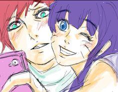 Himawari and Uncle Gaara #Selfiegame Kmsl Gaara looks so embarrassed