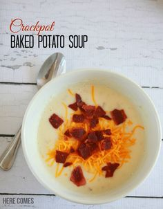 This Crockpot Baked Potato Soup Recipe will make dinner time easy! Minimal prep time and perfect for busy weeknights!