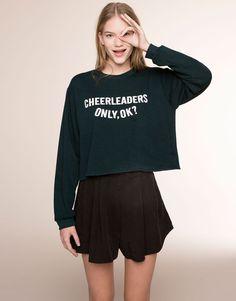 Pull&Bear - femme - nouveautés - sweat message - vert sombre - 05591310-V2016