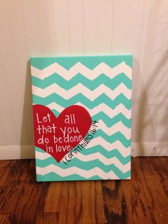 I so need to paint this for my little girls room . And great reminder to read every day. Canvas Painting Heart 1 Corinthians 1614 by JordansCanvas - Decor DIY Cute Crafts, Crafts To Do, Arts And Crafts, Diy Crafts, Easy Diy Projects, Art Projects, Projects To Try, Canvas Tent, Diy Canvas