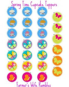 Free Printable Cupcake Toppers � Flowers