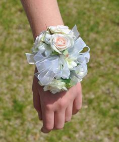 Rose Corsage for Prom, or a Wedding made with Blush Roses, Stephanotis with Iridescent Ribbon on a Faux Pearl Corsage.