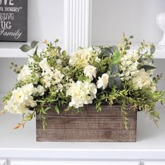Vintage Farmhouse Decor Hydrangeas, delphiniums and roses in a long wood box. Makes a lovely farmhouse centerpiece. Wooden Box Centerpiece, Floral Centerpieces, Centerpiece Ideas, Wedding Centerpieces, Easter Centerpiece, Flower Box Centerpiece, Farmhouse Table Centerpieces, Silk Floral Arrangements, Centrepieces