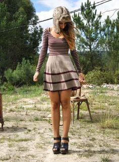 Multi Day Dress - Stripe Leotard neck sweater dress | UsTrendy