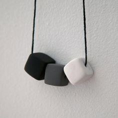 Black & White // Polymer Clay Necklace // Geometric, Modern, Minimalist