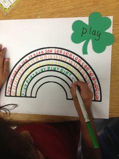 Sight Word Rainbows: Students pick 6 different words written on shamrocks, then practice writing the word in rainbow colors - FREE Printable Rainbow Kindergarten Language Arts, Kindergarten Centers, Kindergarten Literacy, Preschool, Literacy Centers, Literacy Stations, Color Words Kindergarten, Spelling Activities, Sight Word Activities