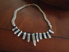 I Dont Wanna Dance Alone Clear Quartz & Blue Goldstone Crystal Point Collar Necklace