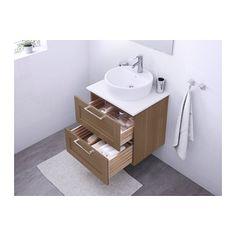 GODMORGON/ALDERN / TÖRNVIKEN Mobile/lavabo 45/piano bagno - bianco, effetto noce - IKEA